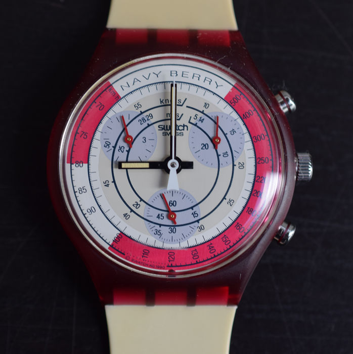 Swatch, Chrono # NAVY BERRY, SCR100 # never worn, mint in