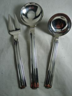 Karl Gustav Hansen for Hans Hansen - three-part silver serving cutlery, model 'Arvesolv'