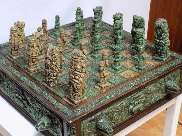 Antique Aztec Chess Board Handmade From Volcanic Rock