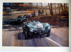 """Into the Sunlight"" - Le Mans 1951/Jaguar XK-C #20 - Walker/Whitehead (Winner)  - Fine Art PrintArtist : Alan Fearnley"