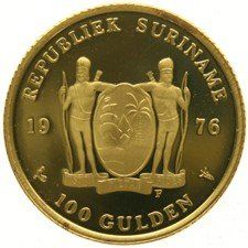 "Suriname – 100 Guilder coin 1976F ""One Year of Independence"" – gold"