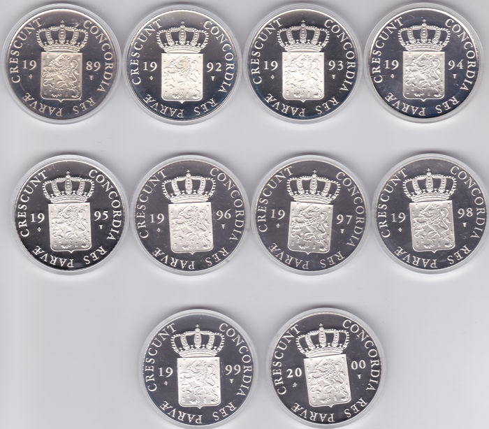 The Netherlands – Ducat 1989 through 2000 (10 different ones) – Silver