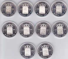 The Netherlands - Ducat 1989 up to 2000 (10 different ones) - silver