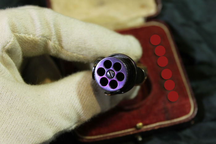 "A cased ""Le petit Protector"" Ring Revolver"