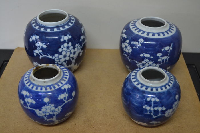 Blue White Prunus Porcelain Ginger Jarsvases China Late 19th