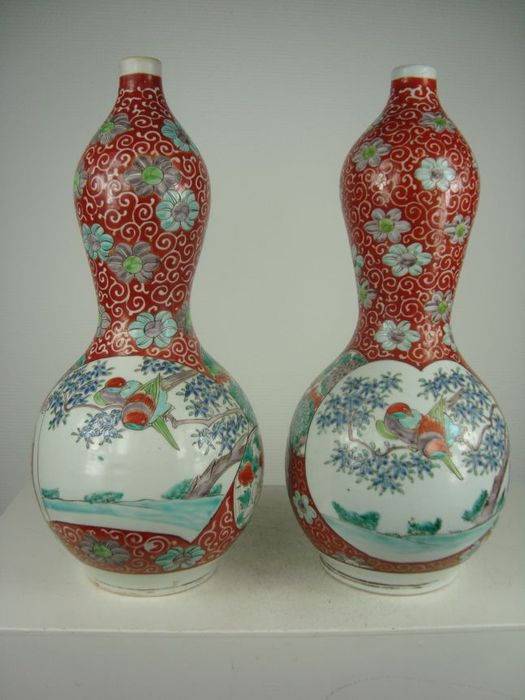 Two Large Porcelain Arita Double Gourd Vases Japan 19th Century
