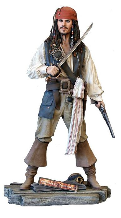 Pirates of the Carribean - Captain Jack Sparrow - Studio OxMox/ Muckle Mannequins - Lifesize statue - Johnny Depp - Height 194 cm
