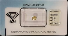 0.63 ct radiant brilliant cut natural diamond – Fancy intense yellow – VVS2