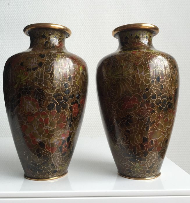 Jingfa Cloisonn Vases China Second Part Of The 20th Century
