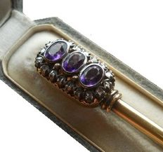 Antique Gold Diamond and Amethyst large Brooch