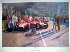 """Early Start"" Lancia-Ferrari D50A - Collins/Musso - Monaco 1956 -  Print : Artist Alan Fearnley 1994"