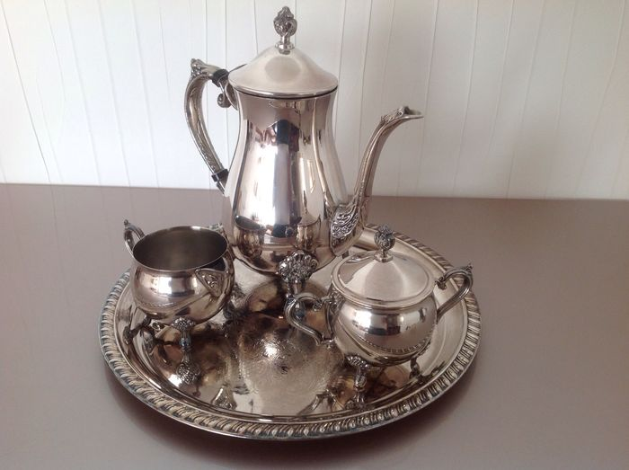 Silver plated tea / coffee set with tray Leonard silver Chelsea Massachusetts USA 1969 & Silver plated tea / coffee set with tray Leonard silver Chelsea ...