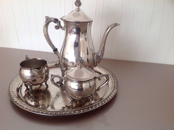Silver plated tea / coffee set with tray, Leonard silver, Chelsea ...
