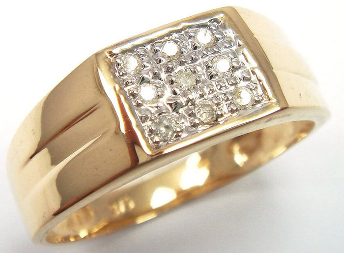 Gold Men S Ring Set With 9 Diamonds 0 34 Ct Catawiki