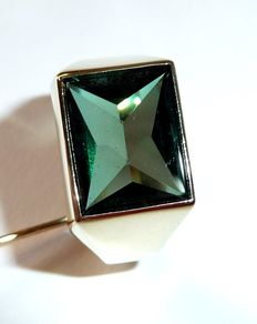 Men's ring, signet ring made of 585 / 14 kt yellow gold with a synthetic green tourmaline - solid and handmade