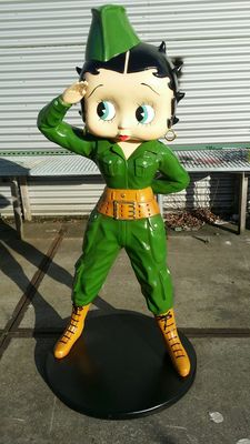 Betty Boop - Large statue - 160cm high - polyster - Betty Boop in army outfit