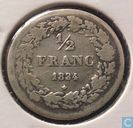 Belgium ½ franc 1834 (Simple horizontal line of 4)