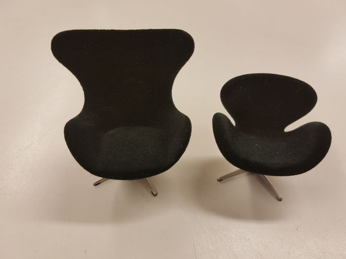 arne jacobsen egg chair and the swan miniature scale 1 16 catawiki