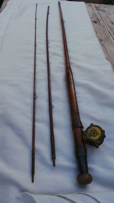 Small Old Wooden Fly Fishing Rod Marked With Tiny Copper Reel Catawiki