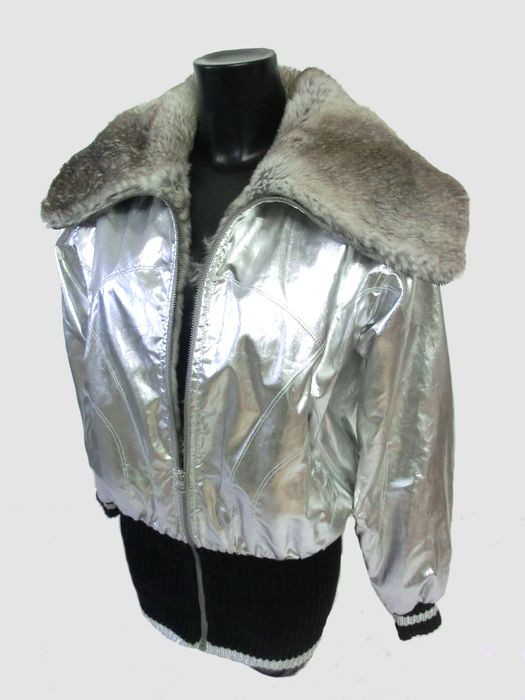 Dolce & Gabbana - Patent Leather Jacket in Silver with Chinchilla Fur