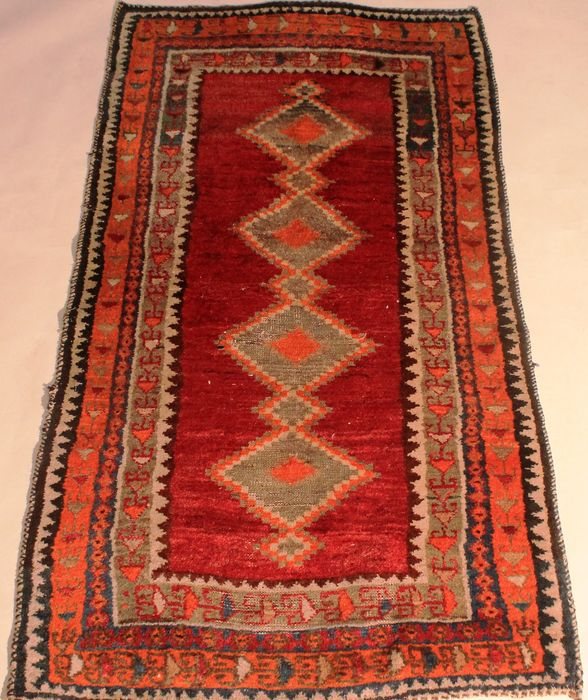Nice Old Persian Rug Gabbeh, 90 X 180cm, Wool On Wool