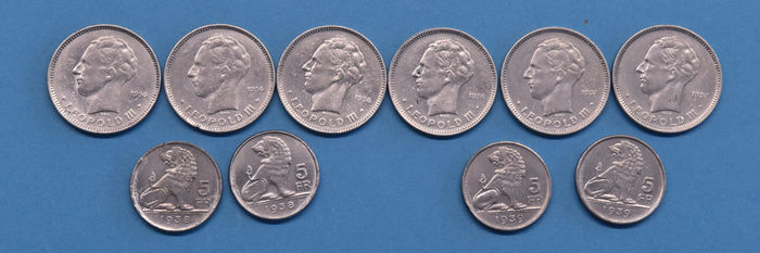 Belgium - 5 Francs 1936/1939 Leopold III incl. 5 Frank 1938 VL/FR (with crown - pos  A) - 11 varieties