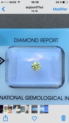 0.37 ct natural fancy intense yellow I1 (P1)