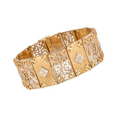 Old handmade bracelet made from 18 kt yellow and white gold  - signe  FV
