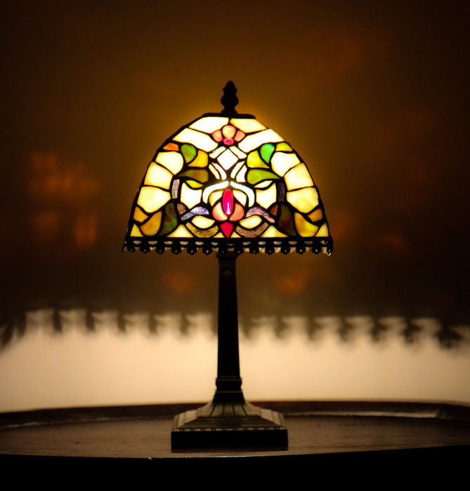 Antique tiffany style table lamp very nice decorated with various antique tiffany style table lamp very nice decorated with various pieces of stained glass mozeypictures Choice Image