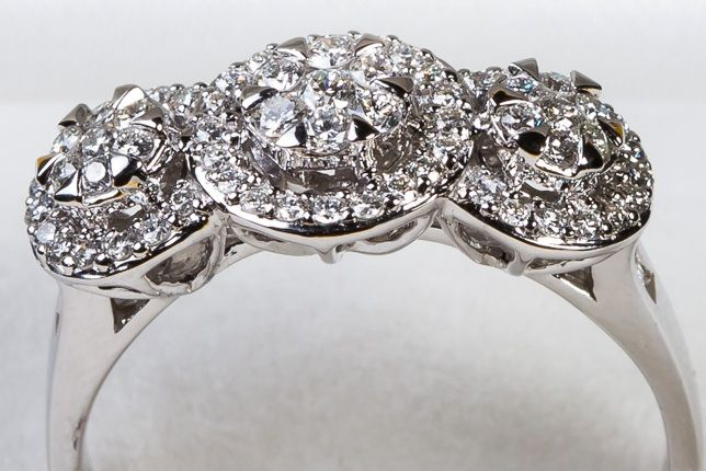 18Kt. white gold  vintage style halo cluster engagement Ring set  with diamonds 0.67ct. , F colour and VS clarity, Ring size P/56