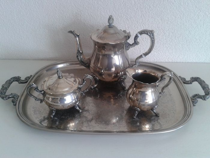 Complete Leonard silver plated coffee set with matching silver ...