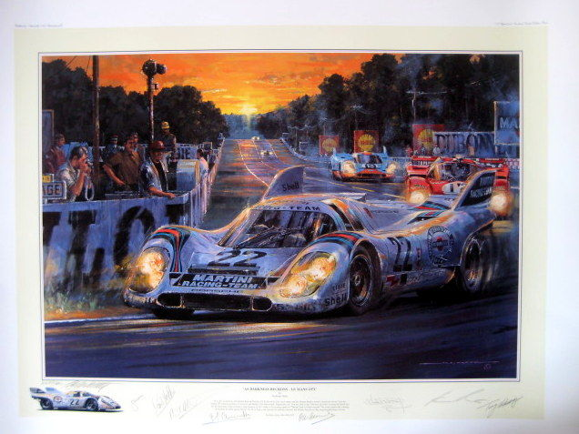 "Fine Art Lithograph - "" Darkness Becksons ""  Le Mans 1971 -  The Winning Record Breaking Porsche 917K - Van Lennep/Marko"