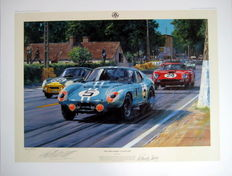 """The Cobra Strikes - Le Mans 1964"" - Cobra Coupe from Gurney/Bondurant - Fine Art Print - Artist : Nicholas Watts"