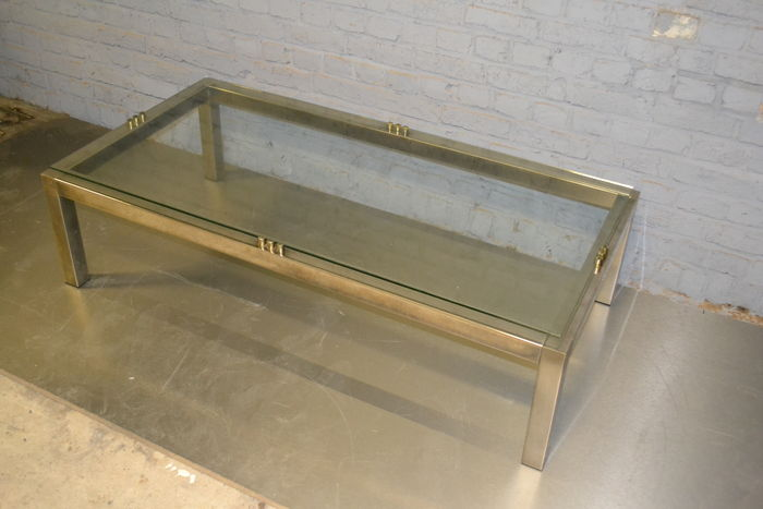 Salon Tafel Messing.Designer Unkown Salontafel Messing Met Glas Catawiki