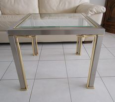 Designer unknown - Coffee Table made of brass and glass, designed in Hollywood Regency style