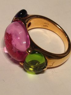 Pomellato – 18 kt rose gold ring, with tourmaline – size: 13
