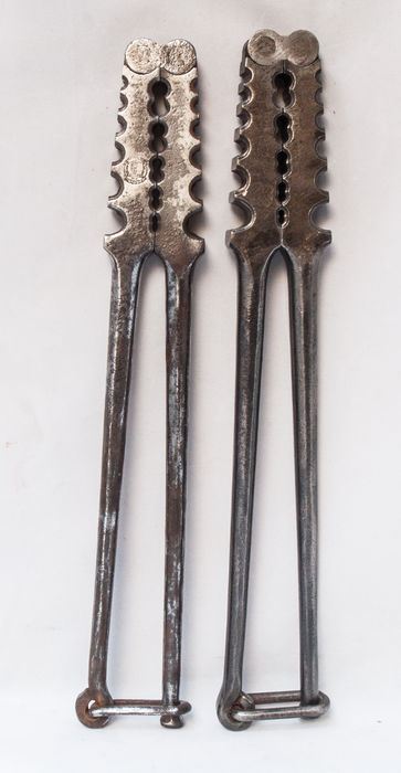 Two vintage reversible iron telephone Lineman crimping tool pliers-around 1900