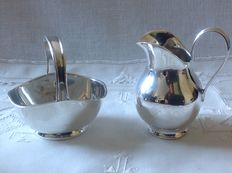 Silver cream set with palmet edges, Wilhelm Binder, Germany, Schwäbisch Gmünd, 1st half of the 20th century