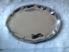 Silver serving tray with profile edge, A. Presburg, Haarlem, 1936