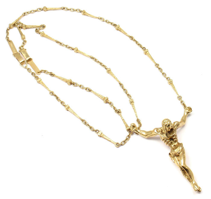 Salvador Dali 18 kt *Jesus Cristos* Gold Christ Saint John On The Cross Necklace Bracelet - Length: Necklace 63.5 cm