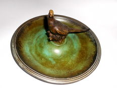 Tinos Denmark, bronze plate with small pheasant figurine, approx. 1930