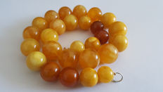 Egg yolk butterscotch Baltic Amber necklace, weight: 69 gram.