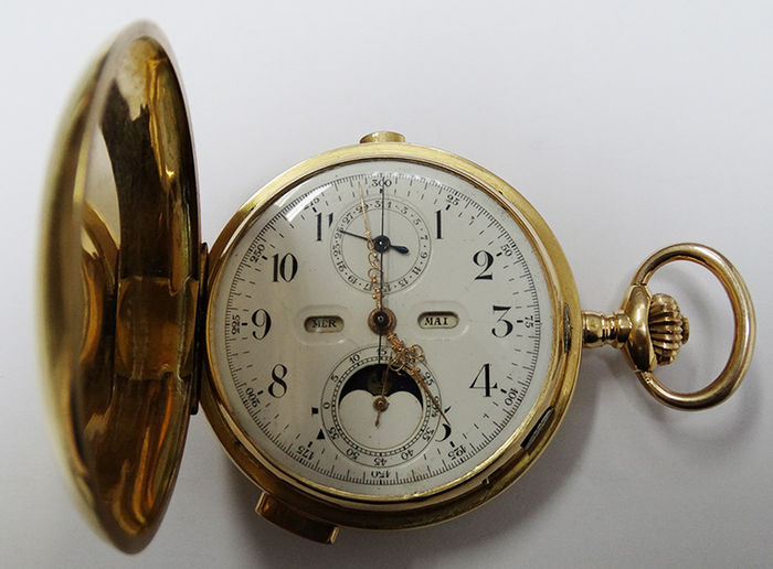 Gold pocket watch with strikes and calendars – Gold medallion Bordeaux 1907