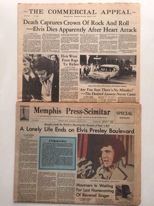 Lot of newspapers from August 1977 about Elvis' death - Catawiki