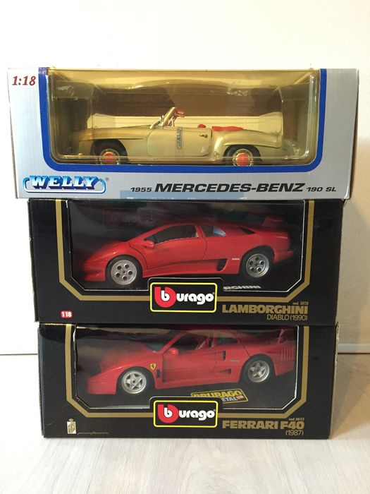 Welly Bburago Scale 1 18 Lot With 3 Models Mercedes Benz 190sl
