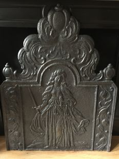 "A heavy cast iron hearth-plate ""Lady Justice"" - probably France - first half of 18th century"