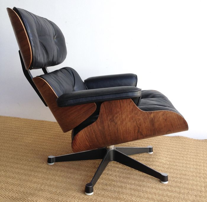 Charles U0026 Ray Eames For Vitra/Herman Miller   Lounge Chair Palissander And  Black Leather