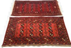 1 pair of Afghan Poshti carpets Mahmud from private collection, dimensions with rear panel are 206 x 195cm.