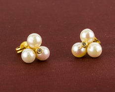 18 kt gold – Earrings – Pearl – Diameter: 10.95 mm (approx.).