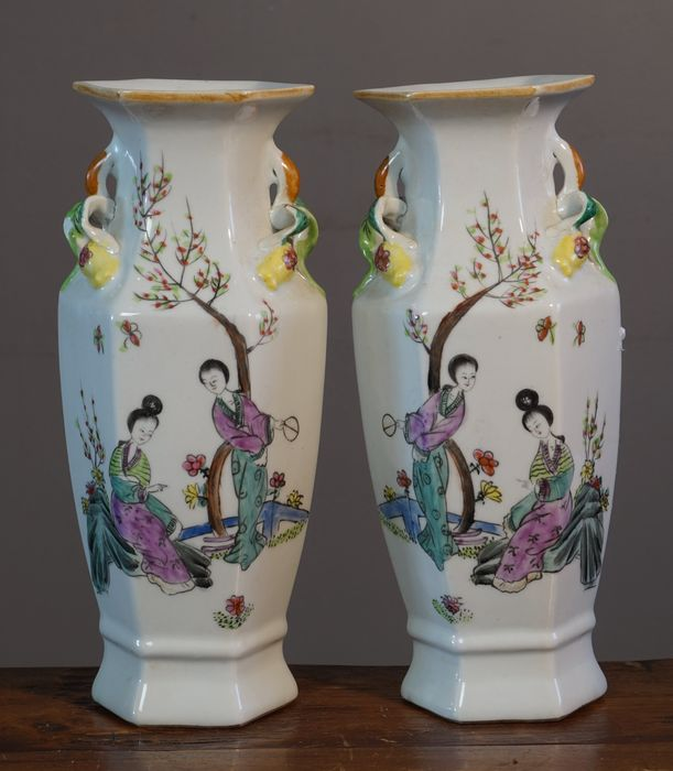 Set Of Vases With Representation Of Figures In Landscape And Many